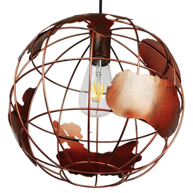 Vintage Industrial Κρεμαστό Φωτιστικό Οροφής Μονόφωτο Καφέ Σκουριά Μεταλλικό Πλέγμα Φ30 GloboStar EARTH RUST 30CM 01662 - 5