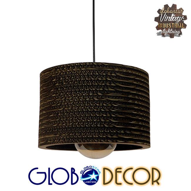 Vintage Κρεμαστό Φωτιστικό Οροφής Μονόφωτο 3D από Επεξεργασμένο Σκληρό Καφέ Χαρτόνι Καμπάνα Φ30 GloboStar PAROS 01290 - 1